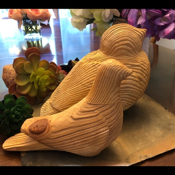 Other - Set of two solid wood birds decor, like new.
